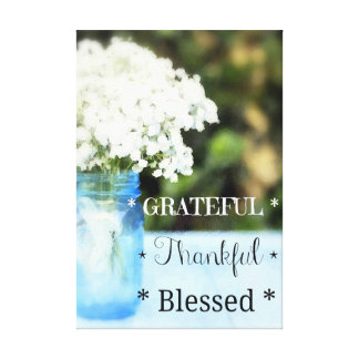 """""""Grateful Thankful Blessed"""" Watercolor Wall Art"""