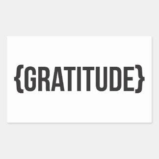 Gratitude - Bracketed - Black and White Rectangular Sticker