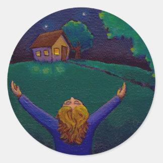 Gratitude happiness wonder joy acceptance fun art classic round sticker