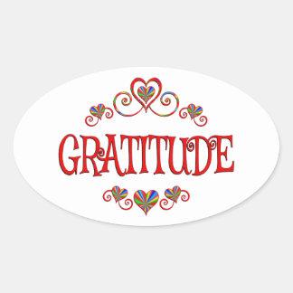 Gratitude Hearts Oval Sticker
