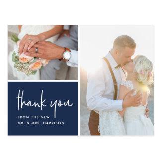 Gratitude in Navy   Wedding Photo Thank You Postcard