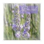 Gratitude Lavender Flowers Ceramic Tile