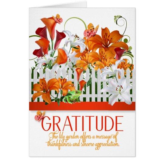 Gratitude Lily Garden Thank You Message Card