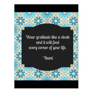 Gratitude Rumi Quote Postcard