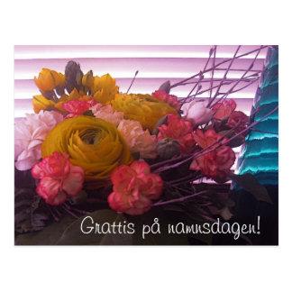 Grattis på namnsdagen, blommor kort postcard