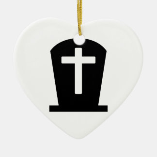 Grave cross ceramic heart decoration