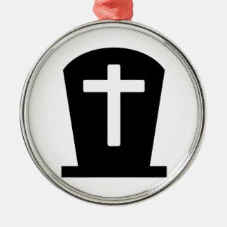 Grave cross Silver-Colored round decoration