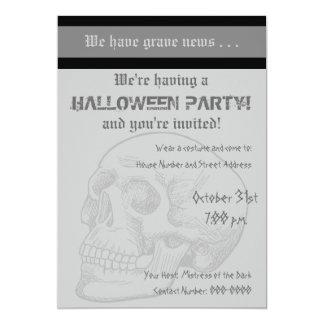 Grave News With Human Skull 13 Cm X 18 Cm Invitation Card