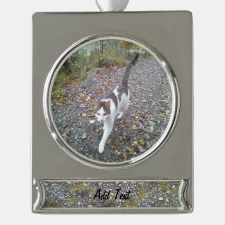 Gravel and grass silver plated banner ornament