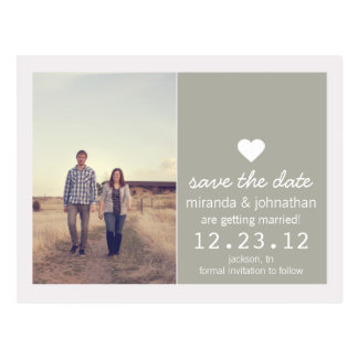 Gravel Gray Heart Photo Save The Date Post Cards