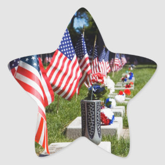 Graves Dressed with Memorial Day Flags Star Sticker