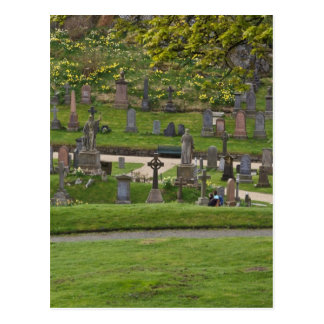 Graves in the cemetery next to Sterling Castle Postcard