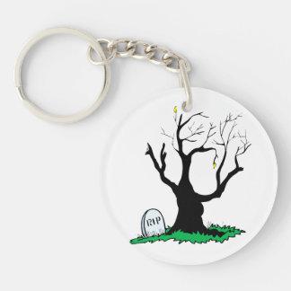 Gravestone dead tree big trunk Double-Sided round acrylic key ring
