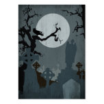 Graveyard and Full Moon for Halloween Business Cards