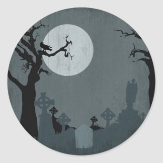 Graveyard and Full Moon for Halloween Classic Round Sticker