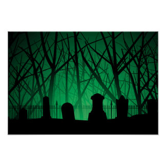 Graveyard And Trees Background Print