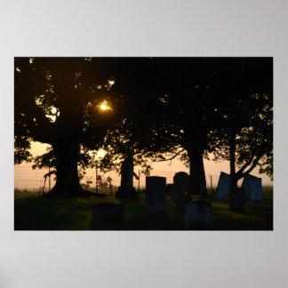 Graveyard at Sunset Print