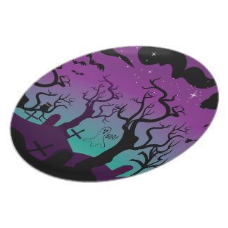 Graveyard black,  purple, turquoise Halloween Plate