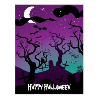 Graveyard black, purple, turquoise Halloween Postcard