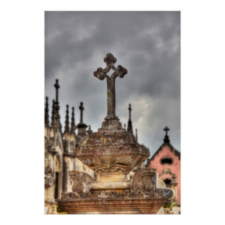 Graveyard cross close-up, Portugal Poster