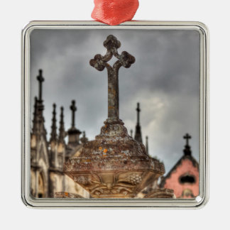 Graveyard cross close-up, Portugal Silver-Colored Square Decoration