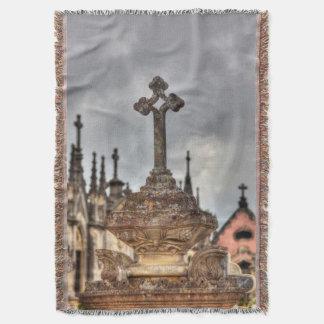 Graveyard cross close-up, Portugal Throw Blanket