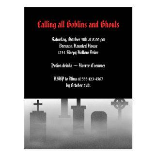 Graveyard fog creepy cemetery gothic Halloween Postcard