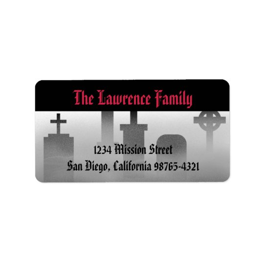 Graveyard fog creepy cemetery Halloween address Address Label