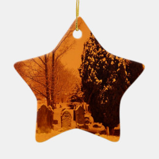 Graveyard in the snow christmas ornament