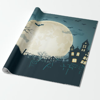 Graveyard with pumpkins, bats, dead tree, moon wrapping paper