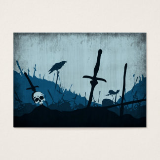 Graveyard with Skulls and Ravens Business Card