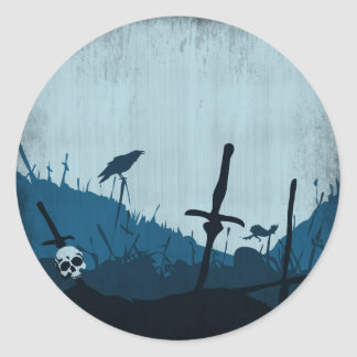Graveyard with Skulls and Ravens Round Sticker