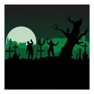 Graveyard zombies illustration poster