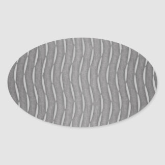 Gray Abstract Modern Striped Design Oval Sticker
