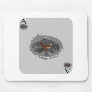 Gray Ace of Spade Chicken Mousepad