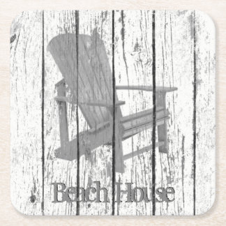Gray Adirondack Chair Your Text Square Paper Coaster