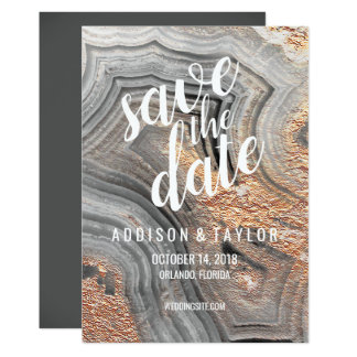 Gray agate geode crystal save the date rose gold card
