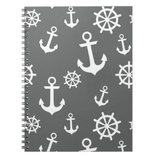 Gray Anchors Pattern Notebooks