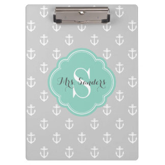 Gray and Aqua Anchors Custom Monogram Clipboard