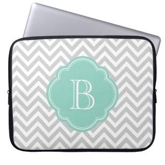Gray and Aqua Chevron Custom Monogram Laptop Sleeve