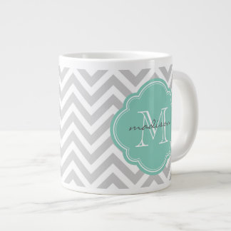Gray and Aqua Chevron Custom Monogram Large Coffee Mug