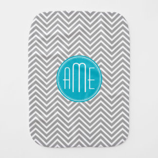 Gray and Aqua Chevron Pattern with Modern Monogram Burp Cloth