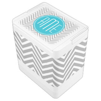 Gray and Aqua Chevron Pattern with Modern Monogram Igloo Cool Box