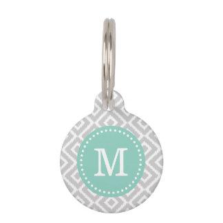 Gray and Aqua Ikat Diamonds Monogram Pet Name Tag