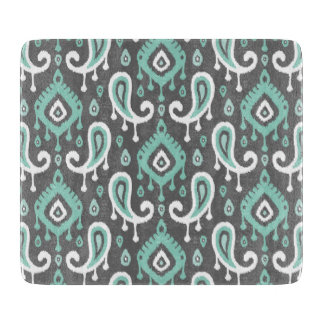 Gray and Aqua Ikat Paisley Cutting Board