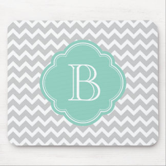 Gray and Aqua Modern Chevron Custom Monogram Mouse Pad