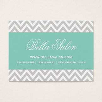 Gray and Aqua Modern Chevron Stripes Business Card