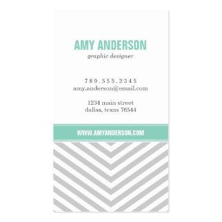 Gray and Aqua Modern Chevron Stripes Business Card Template