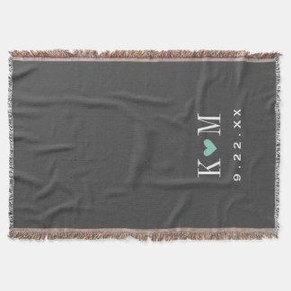 Gray and Aqua Modern Wedding Monogram Throw Blanket