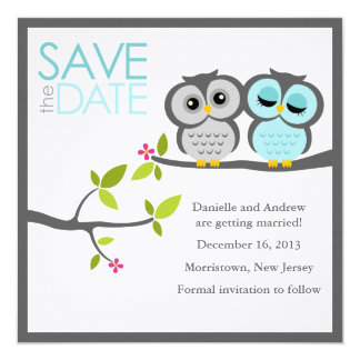 Gray and Aqua Owls Wedding Save the Date 13 Cm X 13 Cm Square Invitation Card